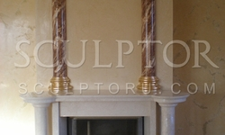 Fireplace with marble